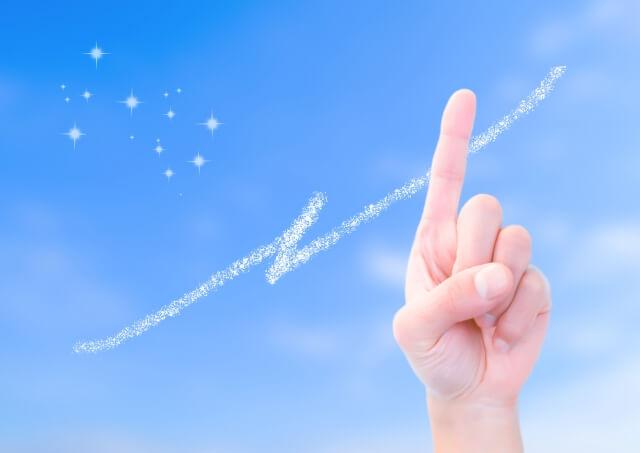 青空を指す指